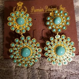 Gold and Turquoise Clip and Pierced Earrings